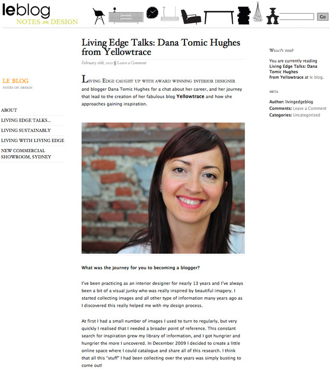 Yellowtrace Interview on Living Edge Blog.