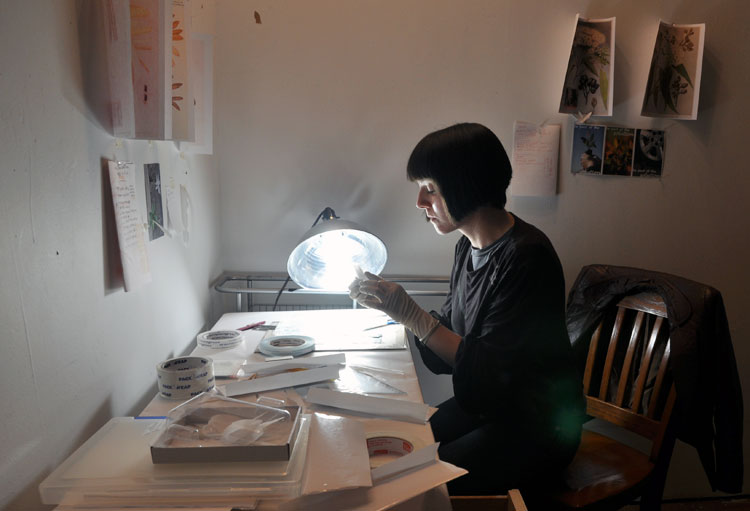 Yellowtrace interview // Natasha Frisch working in her New York studio.