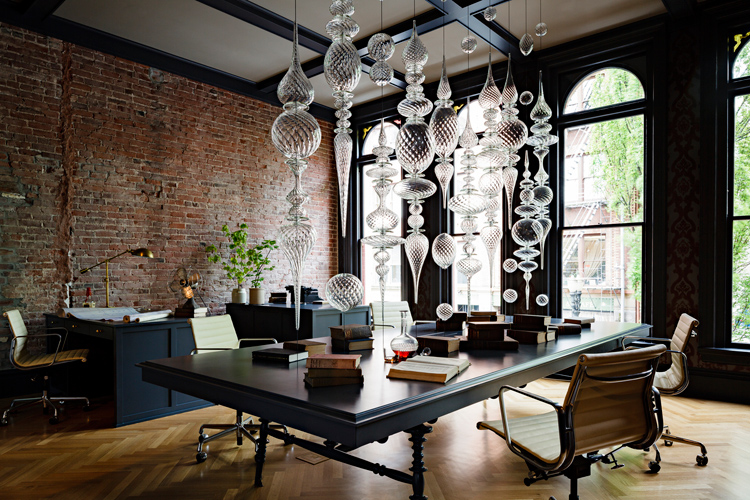 interior design, heritage, office renovation, workspace, exposed brick, black, chandelier