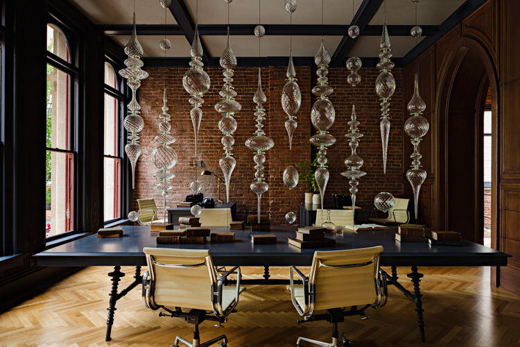 interior design, heritage, office renovation, chandelier, timber wall panelling, black
