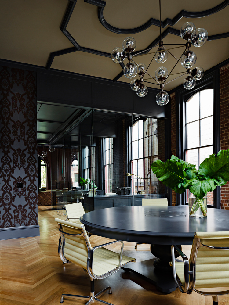 interior design, heritage, office renovation, exposed brick, ceiling, black, chandelier, wallpaper