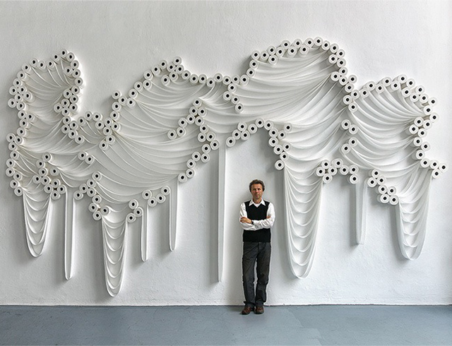 Design Free Thursday // Toilet Paper Installations by Sakir Gökcebag.