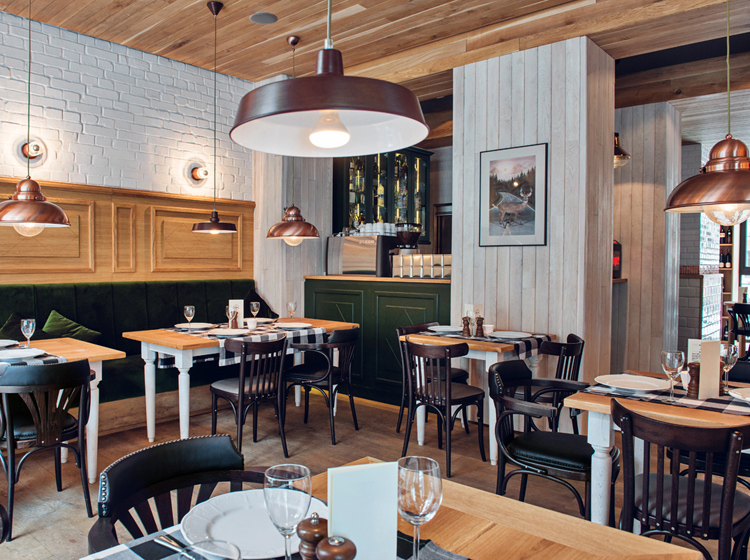 Althaus Restaurant, dining room, timber wall panelling, timber ceiling