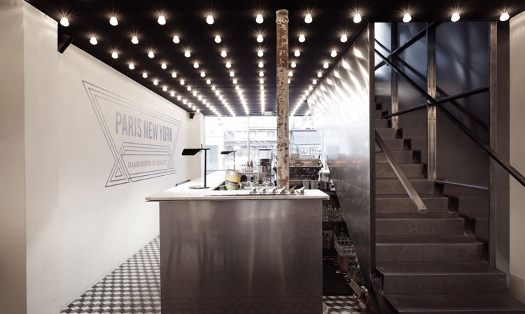 PNY restaurant ground floor, aluminium and marble bar, steel clad stair