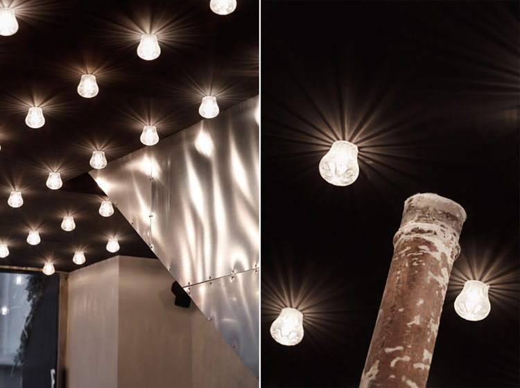 black ceiling and light bulb details