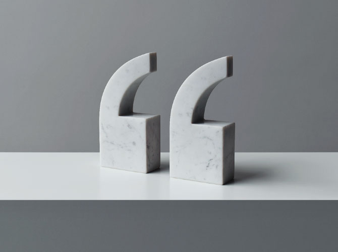 QUOTE marble bookends by Julia Stenius | Yellowtrace.