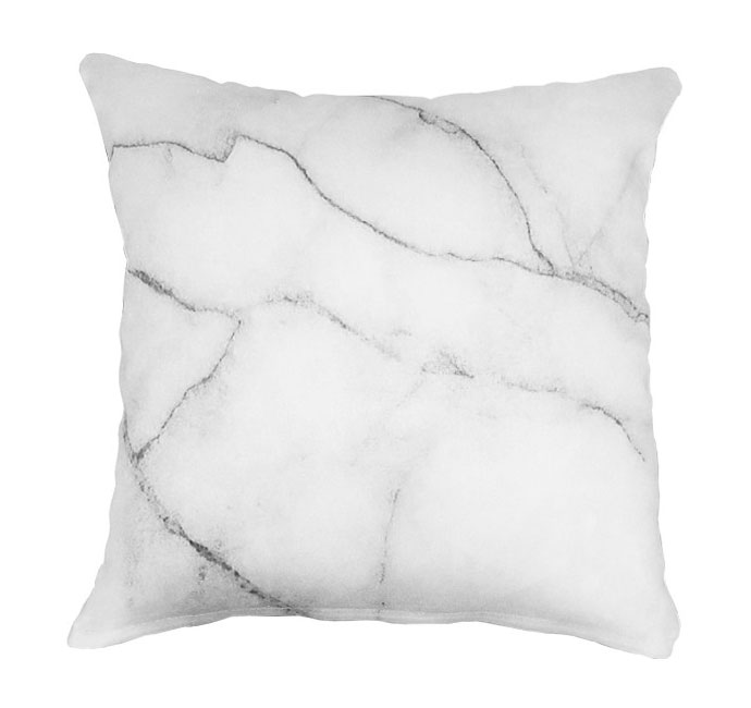 White Marble Throw Pillow from Safe House | Yellowtrace.
