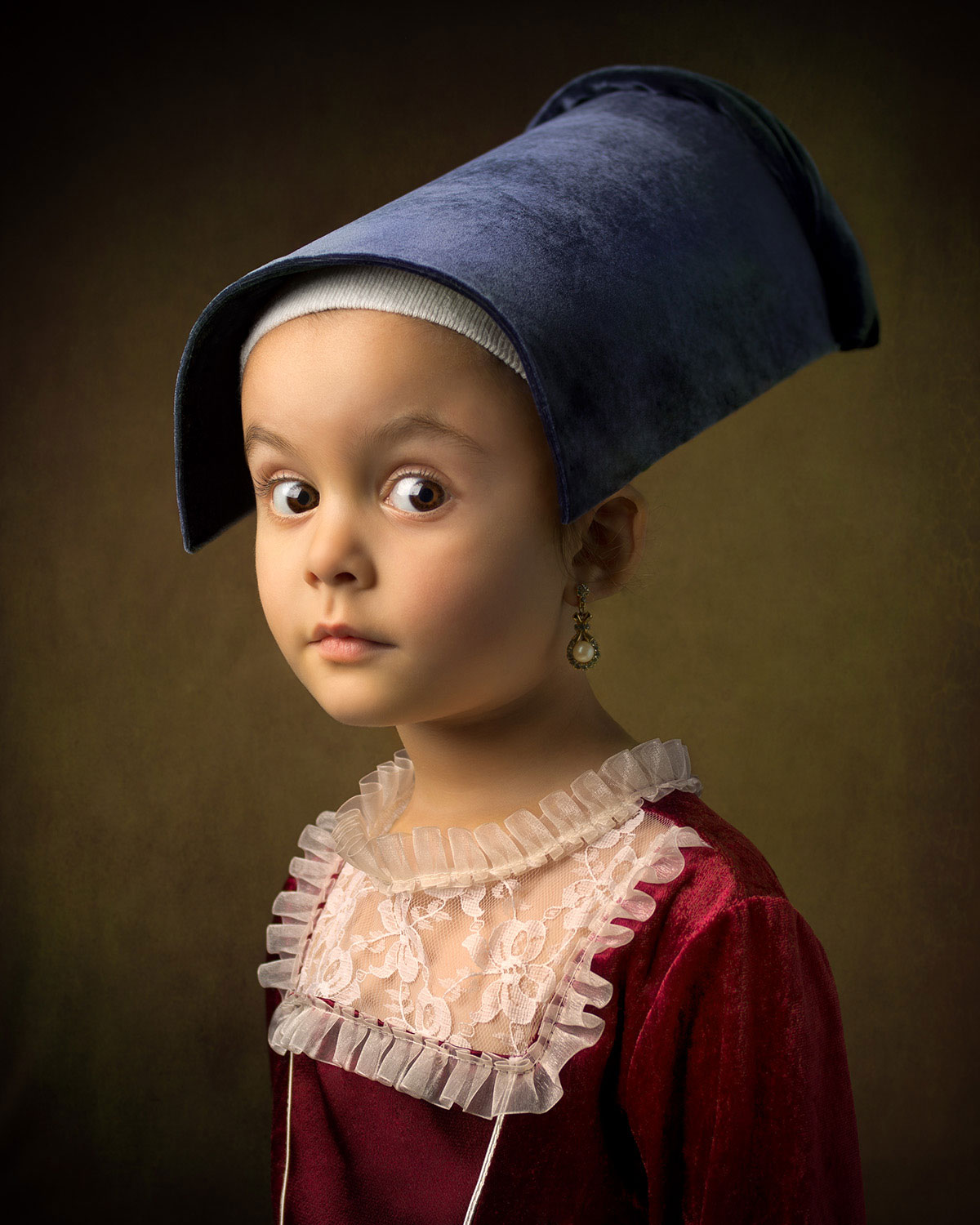 Bill Gekas' Portraits of His Daughter in the Style of Dutch Master Paintings.